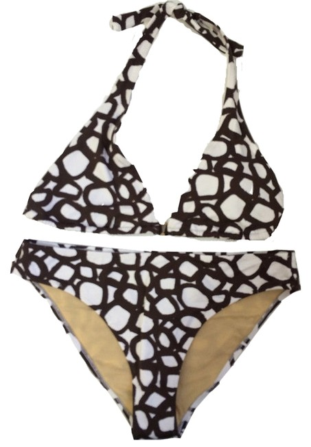 Item - Cocoa and White Painted Squares Swimsuit Bikini Set Size 14 (L)