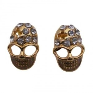 Gold Skull Head W/ Clear Stud Decorated Earrings