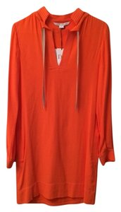 Diane von Furstenberg short dress Papaya Stand Collar V-neck Tie-neck Long Bishop Sleeves on Tradesy