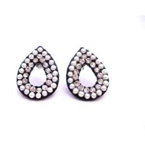 White Fancy Gift Christmas Only Dollar Oval Pear Shaped Earrings