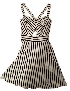 Volcom short dress Black and white Striped Skater Cutout on Tradesy