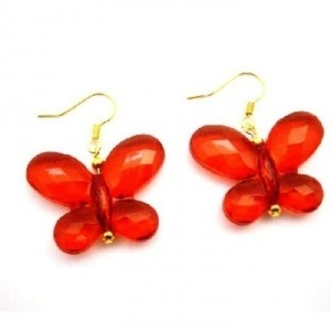 Red Looking Butterfly Striking Butterfly Gold Hook Earrings