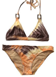 BCBGMAXAZRIA Halter Style Bikini Swimsuit with Wooden Rings