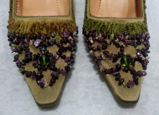Gucci Olive Green Satin with Velvet trim & Amethyst Stone Embellishment Pumps