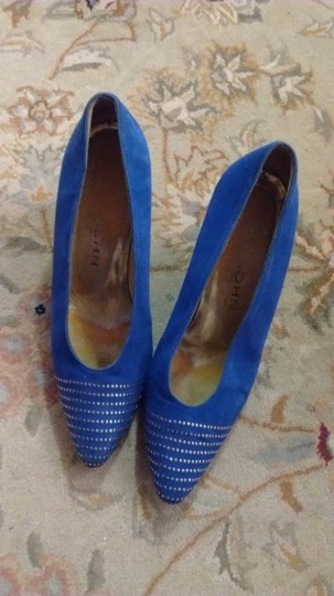 St. John Colored Blue Suede With Gold Toe Accent Pumps