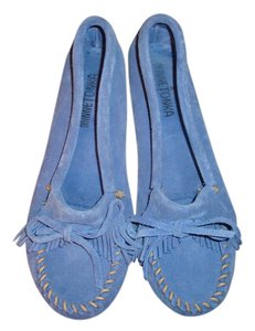 Minnetonka Suede Moccasins Bright Blue Flats