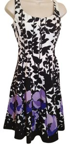 Nine West short dress Black White and Purple Floral on Tradesy