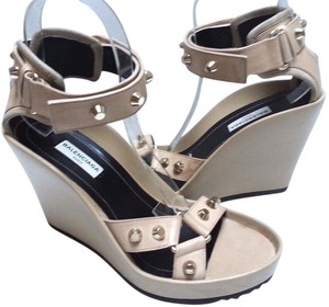 Balenciaga Studded Ankle Strap Beige Wedges