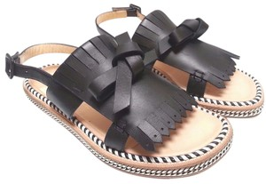 Christian Louboutin Leather Chain Sole Black Sandals