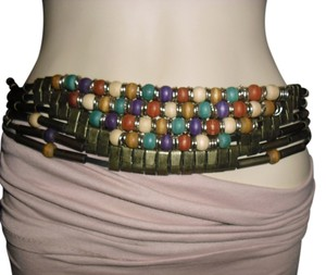 Other Unique bohemian style belt, Wood beads with metal trims belt , Hippie gypsy music festival beaded leather strips belt