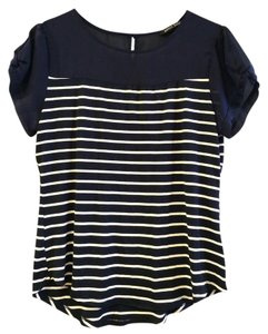 Sweet Rain Stitch Fix Jersey Striped Tee Top Navy & White