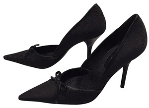 BCBGeneration Monogram Bow Details Night Out Stiletto Black Pumps