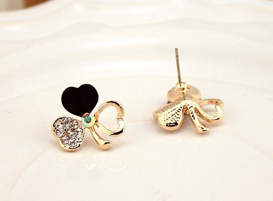 Black High Quality Clover Gold Plated Earrings
