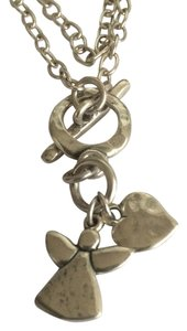 Sterling hammer angel and heart necklace. Free Shipping