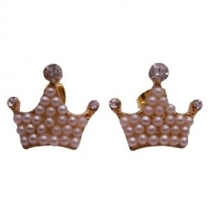 Gold Ivory Crown Shaped Pearls Earrings