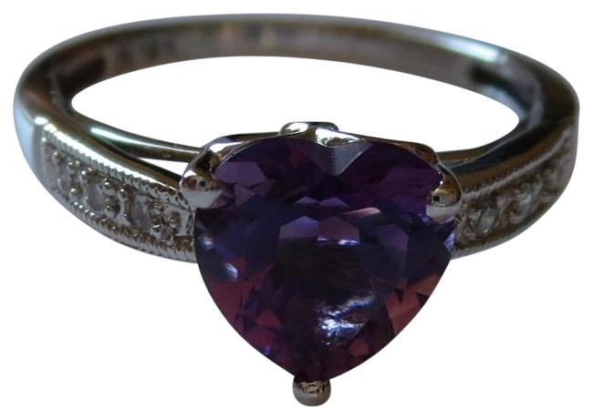 Purple Amethysts with Diamond Accent Gold Ring Purple Amethysts with Diamond Accent Gold Ring Image 1