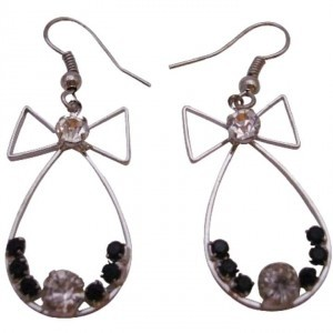 Silver Black Fashionable Dangle Affordable Price Bow Shaped Earrings