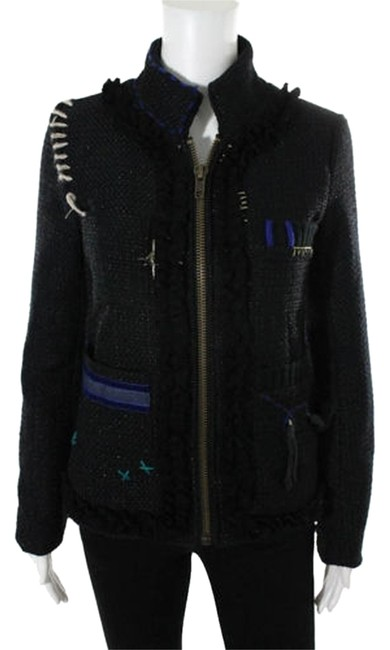 Item - Black Woven Brocade Applique Patches Embroidery Full Zip Jacket Size 4 (S)