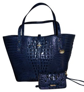 Brahmin Dust Footed Bottom Lining Tote In Navy Blues
