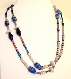 Other glass and puka bead long necklace