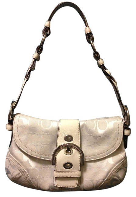 Coach White Signature Canvas and Leather Shoulder Bag Coach White Signature Canvas and Leather Shoulder Bag Image 1