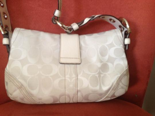 Coach Signature Fabric Canvas Leather Shoulder Bag