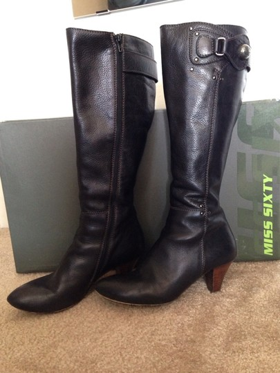 Miss Sixty Leather Pointed Toe Fall Black-brown Boots