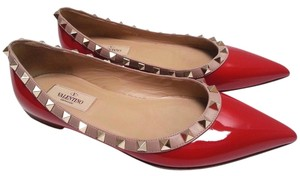 Valentino Patent Leather Point Toe Red Flats