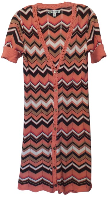 Preload https://item2.tradesy.com/images/anthropologie-peach-orange-tan-off-white-dark-brown-extra-long-chevron-beth-bowley-sweater-s-cardiga-14909656-0-1.jpg?width=400&height=650