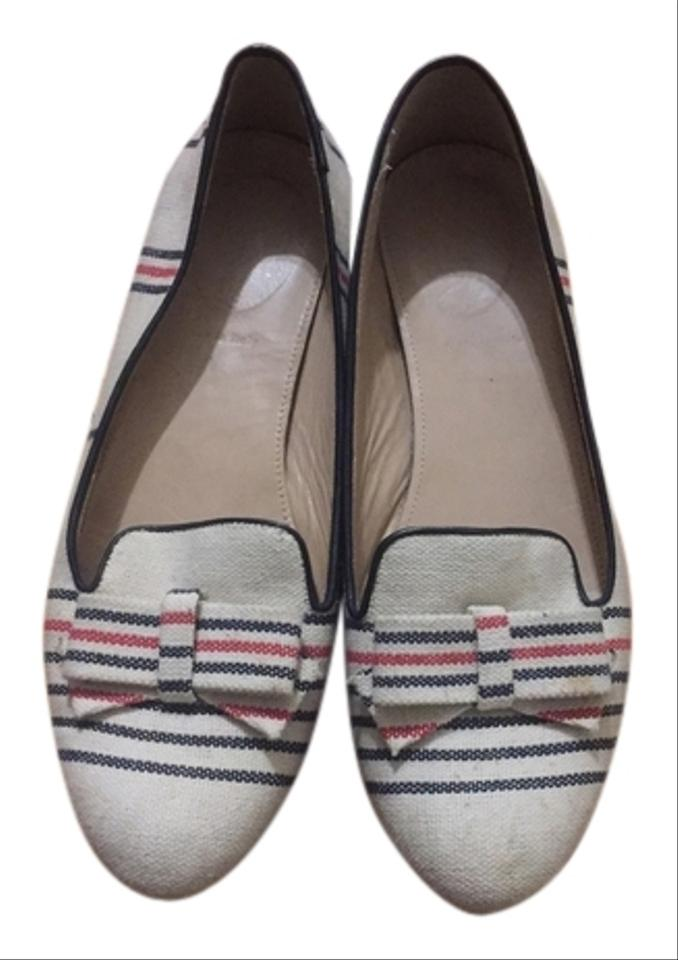 9f50b8fd9d4 J.Crew Beige Striped Cleo Canvas Loafers with Bow Flats Size US 9 ...