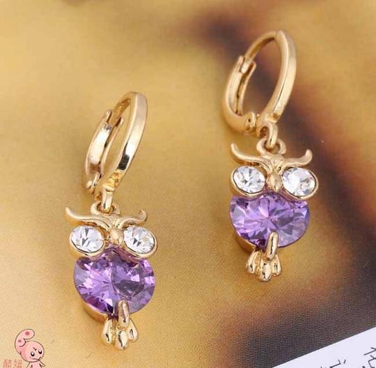 Other New Design 18K Gold Plated Zircon Crystal Owl Drop Earrings