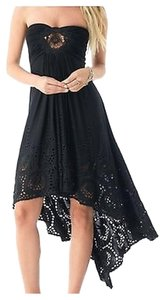 Black Maxi Dress by Sky High-low Crochet Front Kunitz Strapless