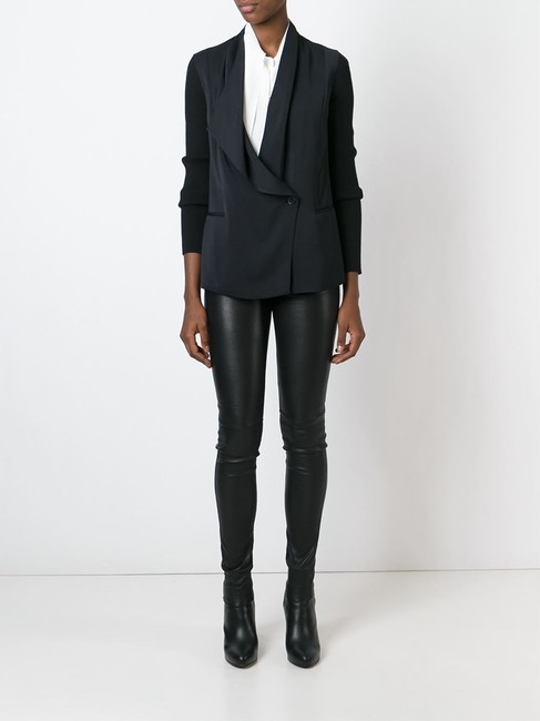 Vince Asymmetrical Draped Drape Rib Silk Black Blazer