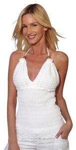 Lirome Summer Resort Sexy Casual White Halter Top