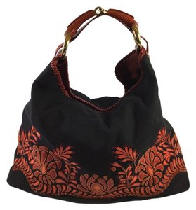 Gucci Black Red Leather Hobo Bag