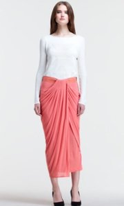 Helmut Lang Schema Draped Asymmetrical Leather Waist Skirt Salmon