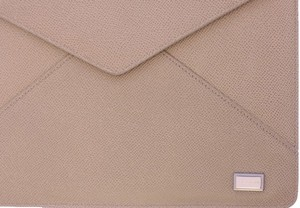 Dolce&Gabbana DOLCE & GABBANA Beige Leather iPAD Tablet Cover Bag Shell Folio
