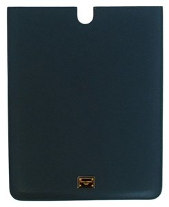 Dolce&Gabbana DOLCE & GABBANA Blue Leather iPAD Tablet Cover Bag Shell Folio