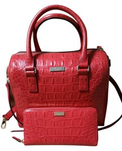 Kate Spade Leather Textured Satchel in Red