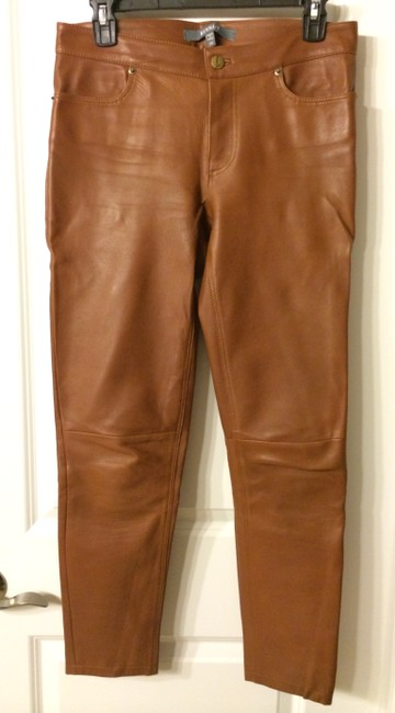 Kenna-T Leather Jeans Leggings Tan Leather Skinny Pants Brown