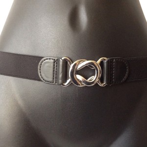 BCBGMAXAZRIA Belt silver buckle black stretch size medium.