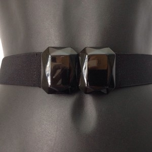 BCBGMAXAZRIA Belt black stone buckle black stretch size 12 large.