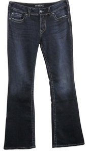 Silver Jeans Co. Cotton Blend Factory Distressed Thick Stitch Button Flap Pockets Boot Cut Jeans-Dark Rinse