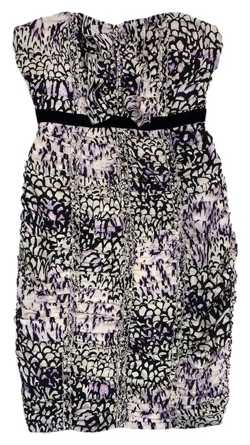 Preload https://item1.tradesy.com/images/plenty-by-tracy-reese-black-cream-and-purple-ruched-mini-short-casual-dress-size-10-m-14912170-0-1.jpg?width=400&height=650