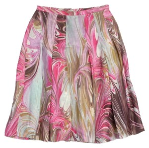 Lafayette 148 New York Pink Multi Color Swirl Print Skirt