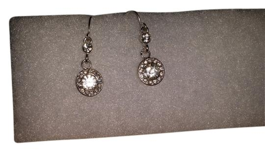 Claire's Round Bezel Crystal Drop Earrings