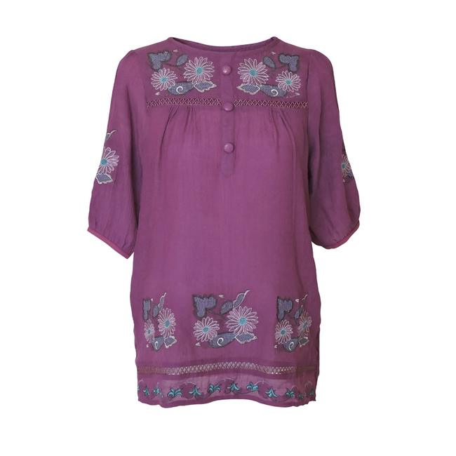 Preload https://img-static.tradesy.com/item/1491256/purple-blouse-tunic-with-floral-embroidered-design-and-button-front-button-down-top-size-12-l-0-1-650-650.jpg