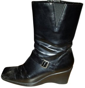 Predictions Wedge Scuffs In Inside Ankle Zip Elastic At Top Durable/sylish Black Boots