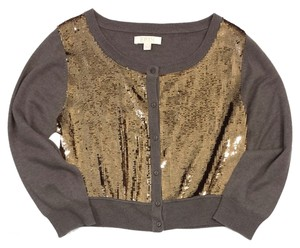 Erin Fetherston Brown Gold Sequined Crop Cardigan