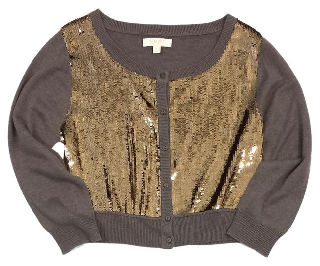 Preload https://item2.tradesy.com/images/erin-fetherston-brown-and-gold-sequined-cardigan-size-12-l-14913406-0-1.jpg?width=400&height=650